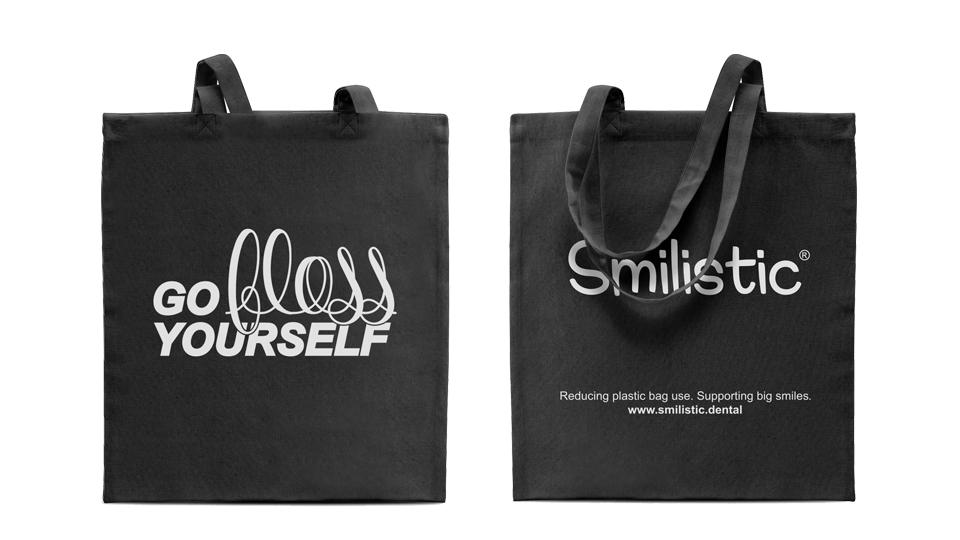 """""""Go Floss Yourself"""" Smilistic® Shopping Bag fekete pamutvászon bevásárlótáska"""